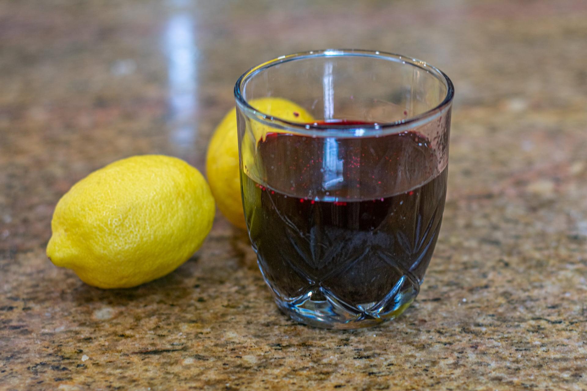 Small glass of Blueberry Lemonade